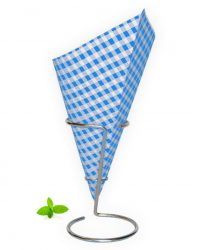 French fry cone blue white checkered print