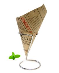 French fry paper cone financial newspaper