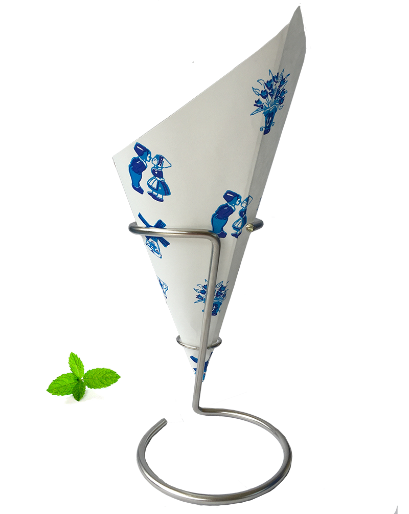 French Fry cone Delft Blue, Paper cone