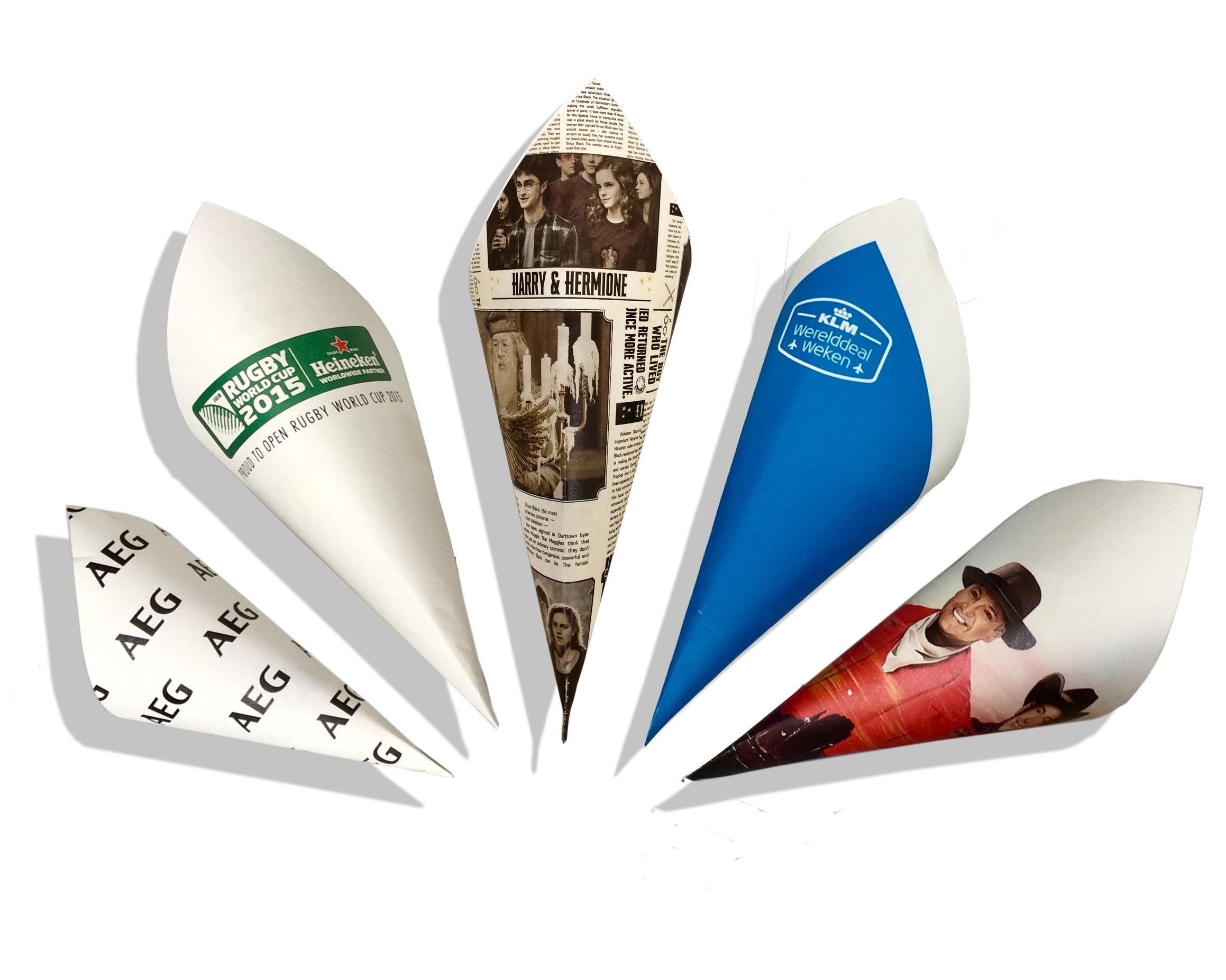 Personalized french fry cones witt your own logo for Bedrukte zakjes