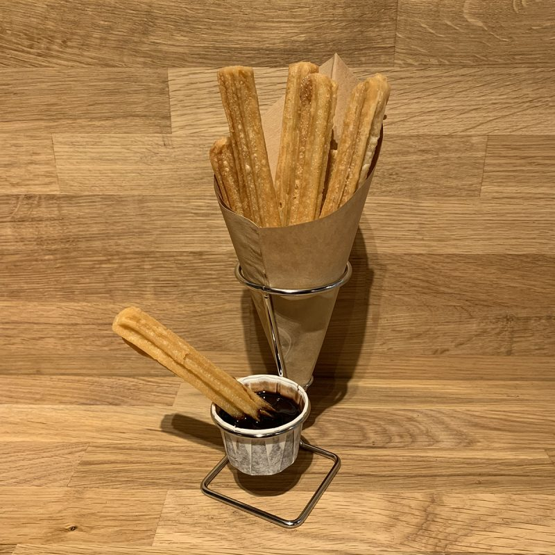 Cone holder for churroscones with sauce cup